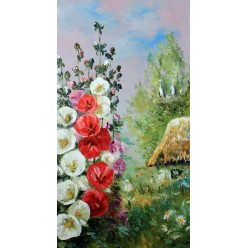 """Картина """"Мальвы во дворе"""" – 50 х 80 см."""