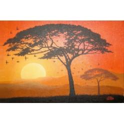"""Картина написанная маслом """"Африканское дерево"""" - 50 x 70 см"""