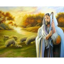 """Картина написанная маслом  """"Иисус -добрый пастух"""" - 50 x 60 см"""