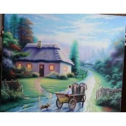 """Картина написанная маслом """"Ой там, на деревне"""" - 50 x 60 см"""