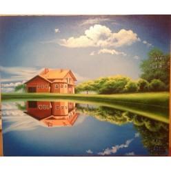 """Картина написанная маслом  """"Сказочный домик"""" - 50 x 60 см"""