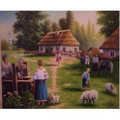 """Картина написанная маслом """"Украинское село"""" - 50 x 60 см"""