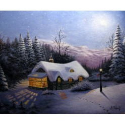 """Картина написанная маслом """"Зимний вечер"""" - 50 x 60 см"""
