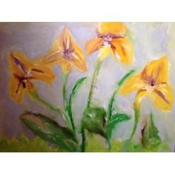 "Картина маслом, холст на картоне - "" Неизвестный цветок"", 50 х 60 см."