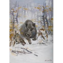 """Картина """"Кабан и лайки"""" – 100 х 70 см, холст, масло."""