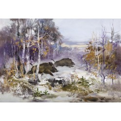 """Картина """"Кабаны зимой"""" – 35 х 50 см."""