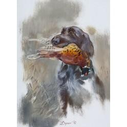 """Картина """"Дратхаар с фазаном"""" - 60 х 40 см"""
