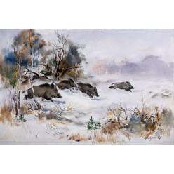 "Картина на охотничью тематику ""Кабаны"" – 40 х 60 см."