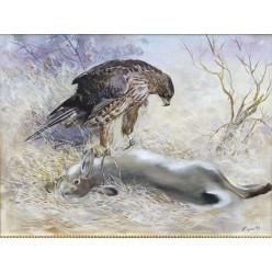 "Авторская картина ""Ястреб и заяц"" – 60 х 80 см"