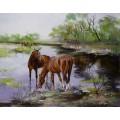 """Прекрасная картина """"Кони на водопое"""" – 60 х 80 см."""