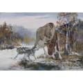 """Необыкновенно реалистичная картина """"Лось и волки"""" – 70 х 100 см."""