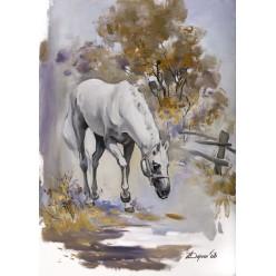 """Картина """"Белая лошадь"""" - 50 х 80 см."""