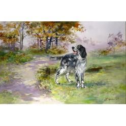 """Замечательная картина """"Прогулка сеттера"""" – 60 х 80 см."""