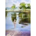 "Умиротворяющая картина ""Река моего детства"" – 50 х 70 см."