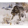 """Картина """"Волк, облава"""" - 50 х 60 см."""