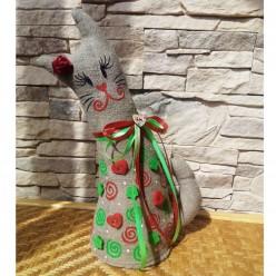 """Двухцветная мягкая стоячая игрушка """"Кошка Красная и Зелёная"""" (ГИ-0007)"""