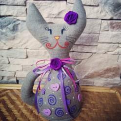 """Интересная мягкая стоячая игрушка """"Кошка фиолетовая"""" (ГИ-0005)"""