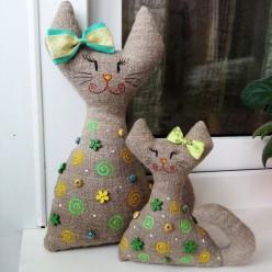"""Лежачая мягкая игрушка в зелёном цвете """"Мама с дочкой"""" (ГИ-0014)"""