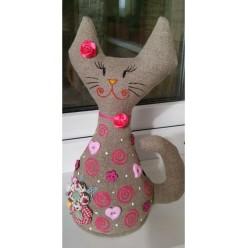 """Миловидная мягкая игрушка ручной работы """"Кошка Розовая"""" (ГИ-0013)"""