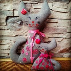 """Парная лежачая мягкая игрушка в розовом цвете """"Мама с дочкой"""" (ГИ-0015)"""