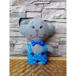 """Весёленькая мягкая игрушка ручной работы """"Обезьянка в голубом"""" (ГИ-0022)"""