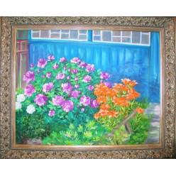 "Картина ""Цветы под верандой моей бабушки. 2006"" - 50 x 60 см"