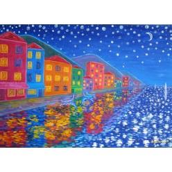 """Картина """"Огни и звёзды. 2010"""" - 40 x 50 см (ГИ-055)"""