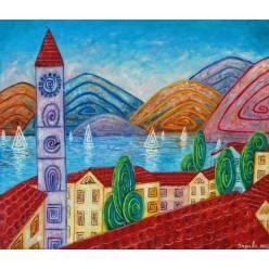 """Картина """"Озеро в горах. 2012"""" - 60 x 50 см (ГИ-056)"""