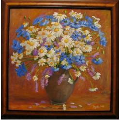 """Картина """"Ромашки и васильки. 2006"""" - 50 x 50 см"""