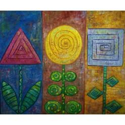 """Картина """"Три цветка. 2014"""" - 50 x 60 см"""
