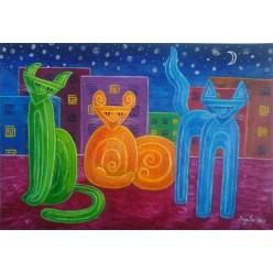 """Картина """"Три котика. 2006"""" - 40 x 50 см"""