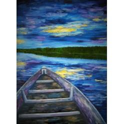 """Картина """"Вечерняя лодка. 2005"""" - 60 x 80 см (ГИ-048)"""