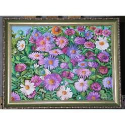 """Картина написанная маслом  """"Бабушкины цветы. 2006"""" - 40 x 50 см"""