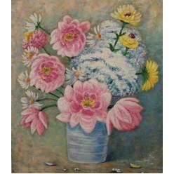 """Картина написанная маслом  """"Букет. Три цвета. 2013"""" - 60 x 50 см"""