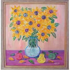 """Картина написанная маслом """"Белая вода питающая желтый вазон. 2006"""" - 50 x 50 см"""