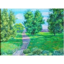 """Картина написанная маслом """"Ботанический сад. 2006"""" - 40 x 50 см"""