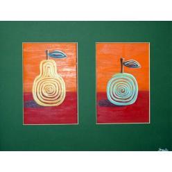 """Картина написанная маслом """"Яблоко и груша. 2005"""" - 30 x 48 см"""