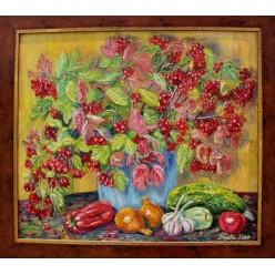 """Картина написанная маслом """"Калина и овощи. 2007"""" - 50 x 50 см"""