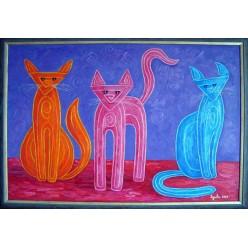 """Картина написанная маслом """"Котики. 2007"""" - 50 x 70 см"""