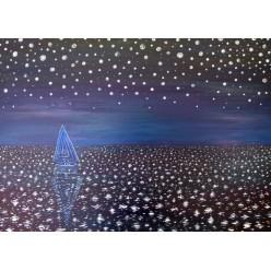 """Картина написанная маслом """"Одинокая яхта. 2006"""" - 60 x 80 см"""