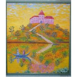 """Картина написанная маслом """"Прогулка на лодке возле замка. 2007"""" - 80 x 70 см"""