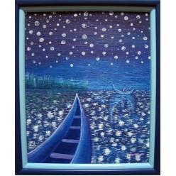 """Картина написанная маслом """"Рыбалка. 2005"""" - 60 x 50 см"""