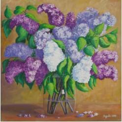 """Картина написанная маслом """"Сирень. 2006"""" - 35 x 35 см"""