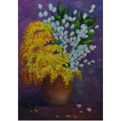 """Картина написанная маслом """"Весенний букет 2010"""" - 45 x 33 см"""