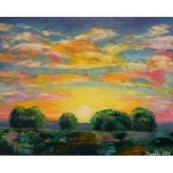 "Картина написанная маслом ""Закат на даче. 2015"" - 40 x 50 см"