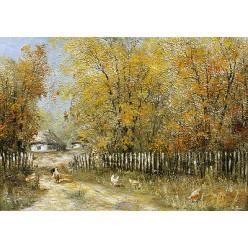 "Картина ""Осень в селе"" – 50 х 70 см."