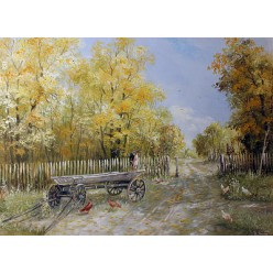 "Картина ""Воз во дворе"" – 50 х 70 см."