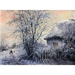 "Картина ""В селе зимой"" – 50 х 70 см."