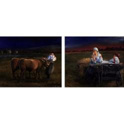 """Диптих """"Ночь в поле"""" – 50 х 60 см, 2013 г."""