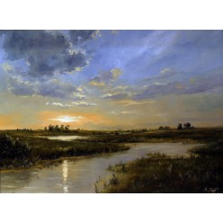 """Картина """"Рассвет на реке"""" – 60 х 80 см, 2013 г."""
